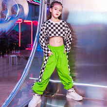 Girls Hip Hop Costumes Plaid Shirt Fluorescent Green Pants Street Dance Clothes Children Jazz Stage Performance Wear DNV12462(China)