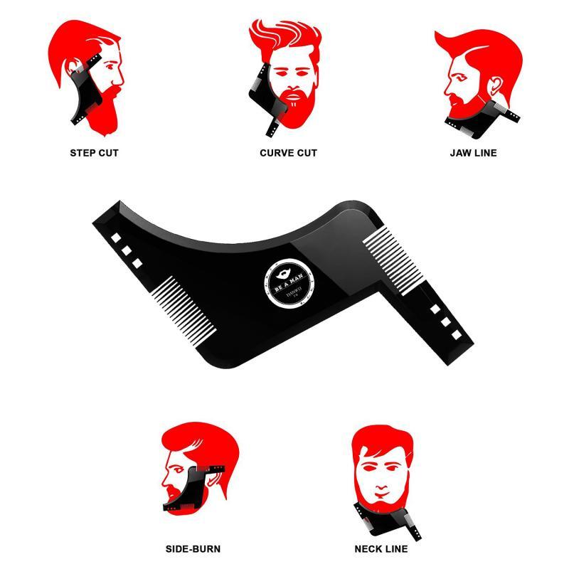 Newest Black Appearance Beard Comb Trimmer Men's Gentleman Beard Comb Shaping Mold Salon Styling Template Ruler Combs Tool