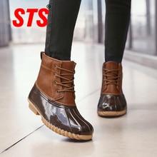 Snow-Boots Waterproof Casual-Shoes Mid-Rubber Velvet Winter Women Ladies STS Non-Slip