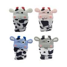 Милый Корова Детский Силиконовый грызунок перчатки Новорожденные Прорезыватели жевательные варежки
