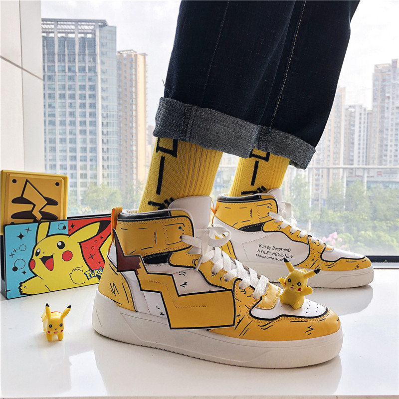 Men's Pikachu Shoes Sneakers Autumn Winter PU Leather Classic High Top Men Vulcanized Shoes Casual Men's Boots Male