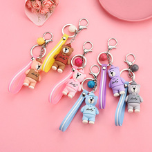 Cute Cartoon Bear Key chain Gifts For Women Girls Bag Pendant Epoxy PVC Figure Charms Chains rings for childrens toys