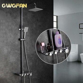 цена на Modern Simple Bathroom Rainfall Thermostatic Shower Faucet Set Chrome Mixer Taps With Hand Shower Square Head Shower Set 88321