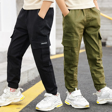 Boy Pants Spring Kids Cargo Pant Trousers Children Boys Casual Letter Pocket Straight Full Pant Bottom for Teenagers