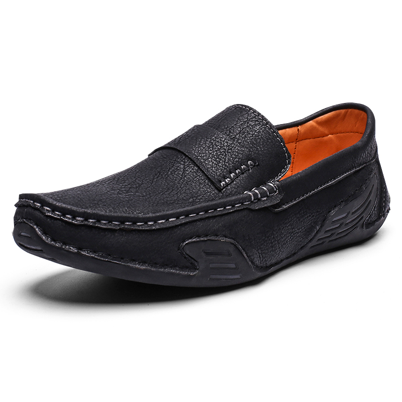 Mens Shoes Fashion Style Leather Spring Casual Shoes Handmade Vintage Loafers Flats Hot Sale Breathable Moccasins Size 39-46