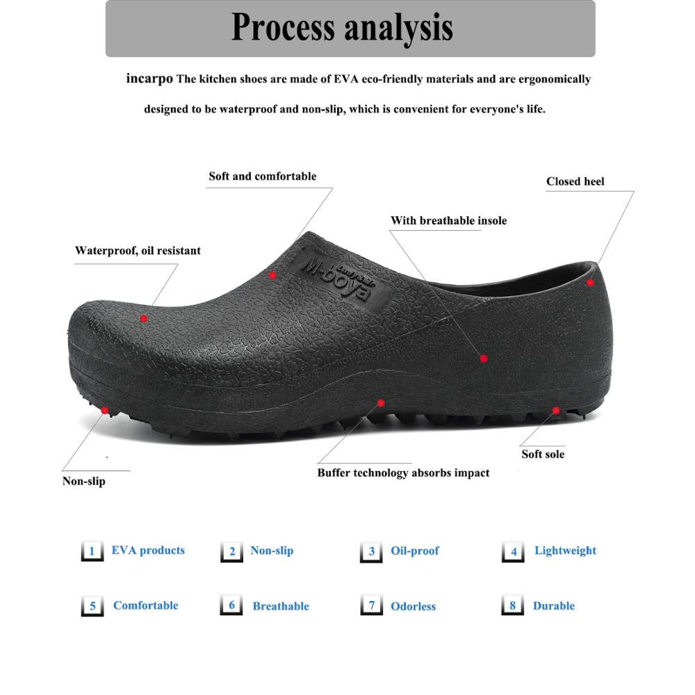 Hotel Kitchen Clogs Non-slip Chef Shoes Casual Flat Work Shoes Breathable Resistant Kitchen Cook Working Shoes Size Plus 37-46