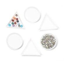 10шт круглый треугольник пластиковые стразы для ногтей пластины лоток держатель контейнер для хранения ювелирных изделий блеск чаша маникюр инструмент