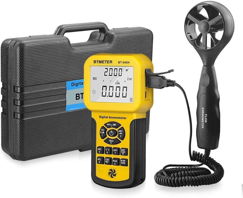 BTMETER BT-846A Pro anémomètre cvc mesure la vitesse du vent vitesse du vent température du vent CFM débit d'air compteur de vitesse avec batterie
