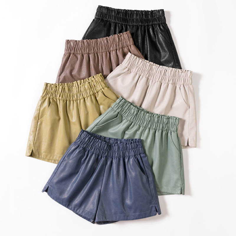 shintimes Elastic High Waist Wide Leg Biker Shorts Autumn PU Leather Shorts Women Plus Size Femme Casual Ladies Shorts Black 1