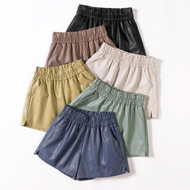 Shintimes Elastic High Waist Wide Leg Biker Shorts Autumn PU Leather Shorts Women Plus Size Femme Casual Ladies Shorts Black