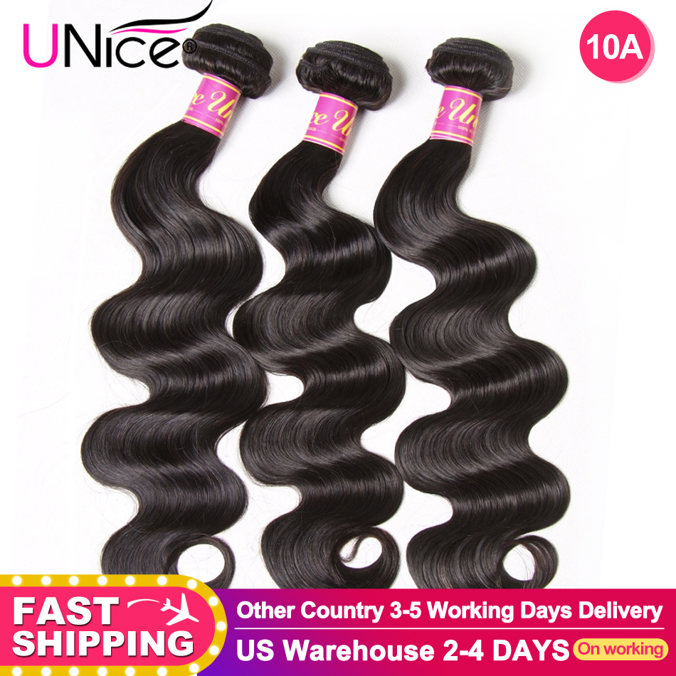 UNICE HAIR Brazilian Body Wave Hair Weave Bundles Natural Color 100% Human Hair weave 1/3/4 Piece 8-30