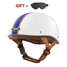 Yema capacete da motocicleta com óculos de proteção halley vintage metade abrir rosto moto scooter elétrico acidente capacete equitação para bicicleta