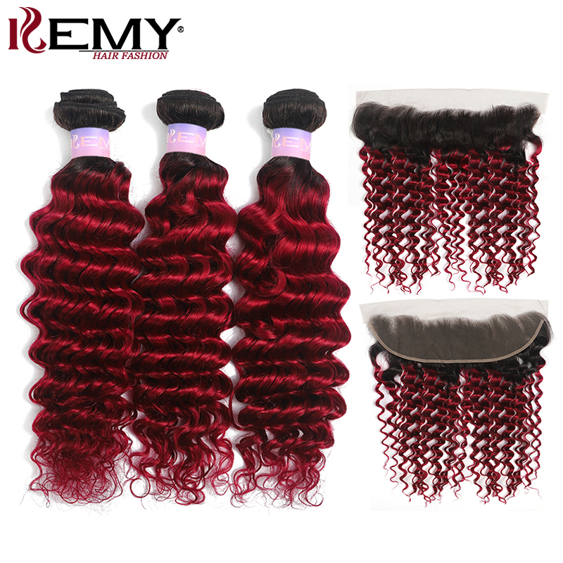 Brazilian Deep Wave Hair Bundles With Frontal KEMY HAIR T1B/ Burgundy Ombre Red Human Hair Weave Bundles With Closure Non-Remy