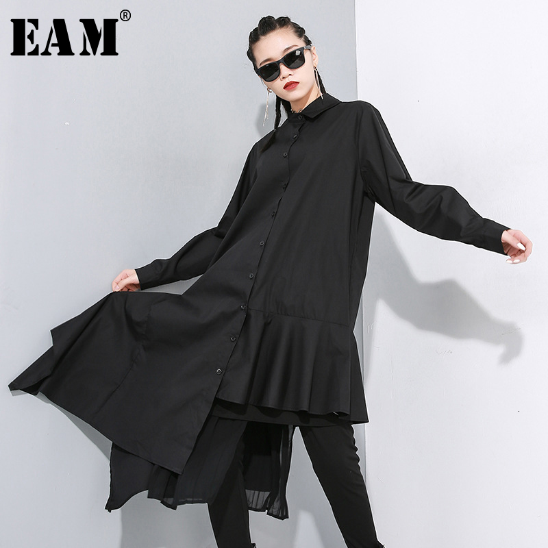 [EAM] Women Black Asymmetrical Pleated Long Blouse New Lapel Long Sleeve Loose Fit Shirt Fashion Tide Spring Autumn 2020 1N202