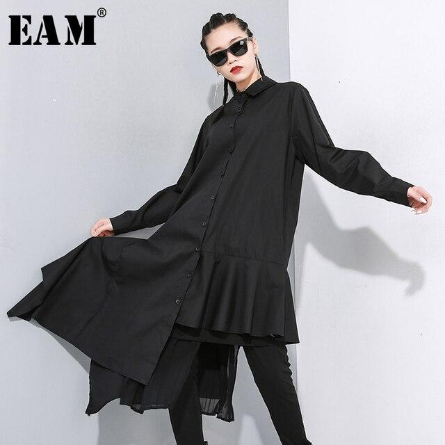 [EAM] Women Black Asymmetrical Pleated Long Blouse New Lapel Long Sleeve Loose Fit Shirt Fashion Tide Spring Autumn 2020 1N202
