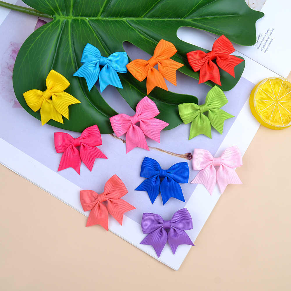 1 Piece Solid Grosgrain Ribbon Bows Hairpin Girl's Hair Bows Boutique Hair Clip Handmade Bowknot Clip For Kids Hair Accessories