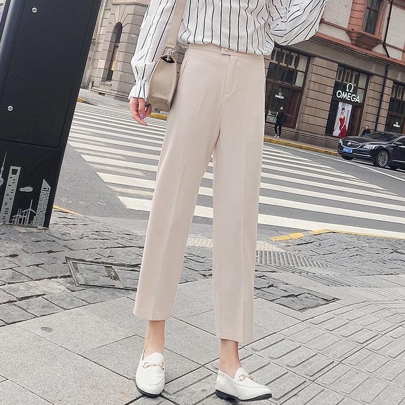 2019 Photo Shoot Spring New Style Suit Pants WOMEN'S Ninth Pants Sub-Straight-Cut Skinny High-waisted Large Size Smoke Tube Kore