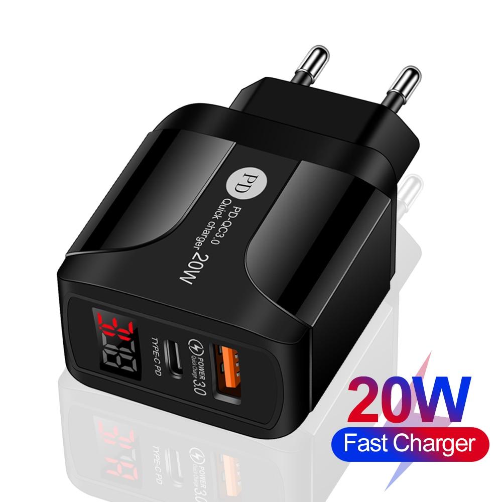 Carga rápida 3.0 qc duplo usb pd USB-C carregador display digital carregador rápido para iphone 12 7 xiaomi samsung huawei carregadores de parede