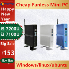 A buon mercato Fanless DDR4 Mini PC i7 i5 7200U i3 7167U Win10 Pro Barebone PC Nuc Mini Computer Desktop Linux HTPC VGA HDMI WiFi
