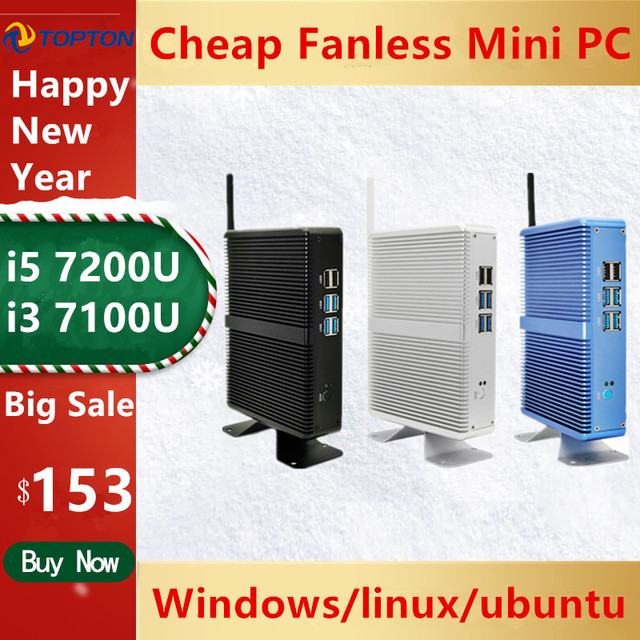 Cheap Fanless DDR4 Mini PC i7 i5 7200U i3 7167U Win10 Pro Barebone PC Nuc Mini Desktop Computer Linux HTPC VGA HDMI WiFi