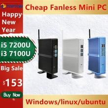Pas cher sans ventilateur DDR4 Mini PC i7 i5 7200U i3 7167U Win10 Pro Barebone PC Nuc Mini ordinateur de bureau Linux HTPC VGA HDMI WiFi