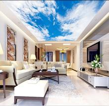 все цены на Photo Wallpaper Living Room Bedroom KTV Ceiling Murals Wallpaper simple blue sky white clouds mural онлайн