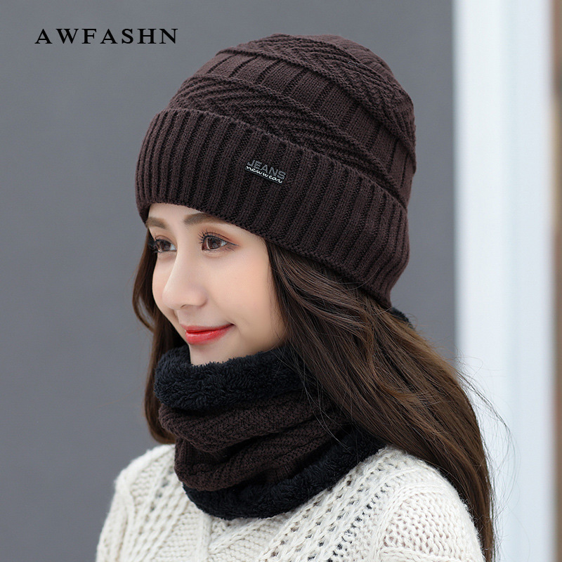 Winter New Ladies Hat Scarf  Plus Velvet Thick Knit Hat  Male High Quality Beanie Hat  Warm Scarf Fashion Casual Wild Winter Hat