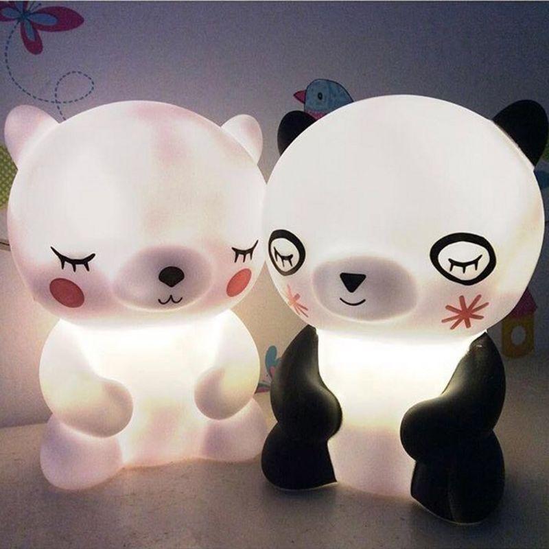 Bear Bear Panda Led Night Light Lamp Cute Animal Cartoon Nightlight For Baby Kids Room Bedside Bedroom Living Room Decorative