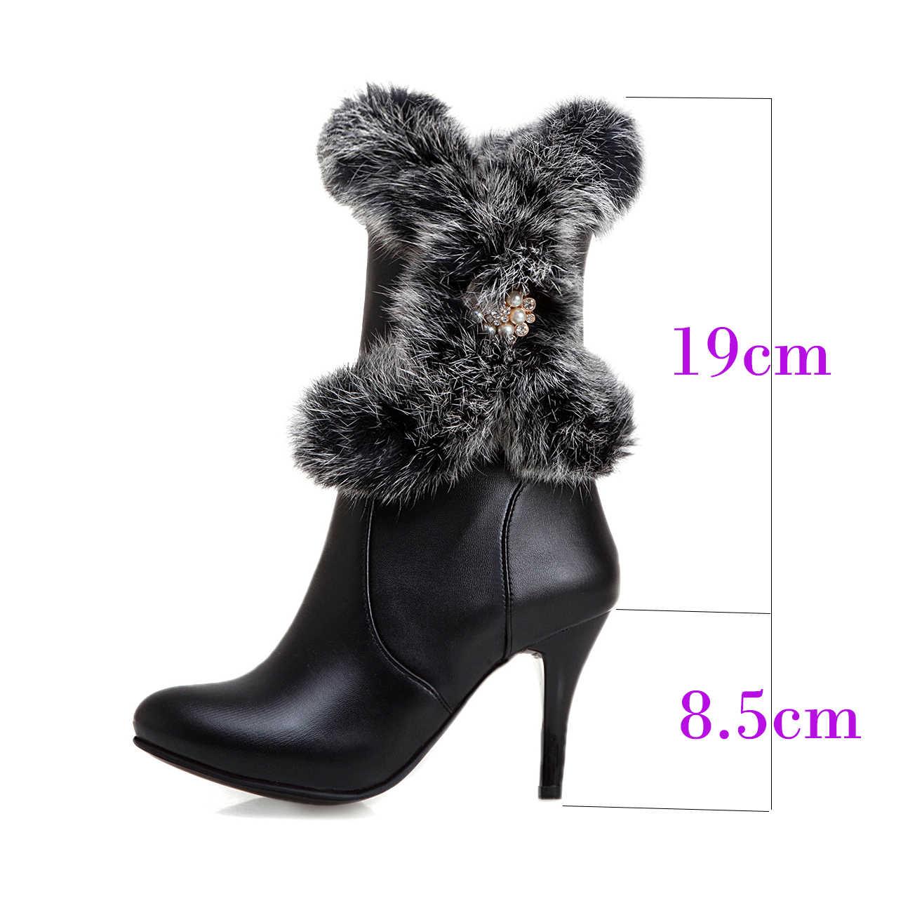Frauen High Heel Stiefel Echtpelz Stiefel Frauen Schwarz Weiß Winter Schuhe Frauen Runde Kappe Zipper Stiefeletten Für Damen größe 14 15 50