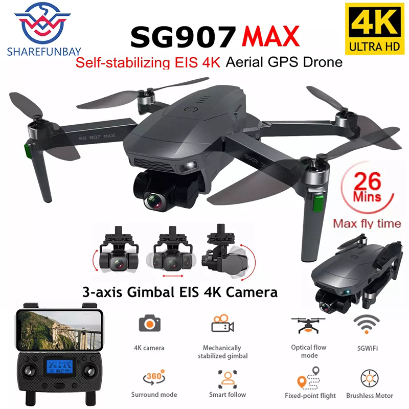 2021 Новый SG907 MAX GPS Профессиональный Дрон с 5G WiFi EIS 4K камера трехосевой карданный бесщеточный Радиоуправляемый квадрокоптер FPV Дрон VS SG906