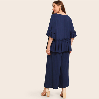 Plus Size Navy Solid Frill Peplum Top and Wide Leg Pants Set