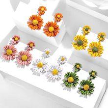 Selexia2020 new earrings S925 silver needle anti allergy Daisy Earrings Flower temperament ER-1