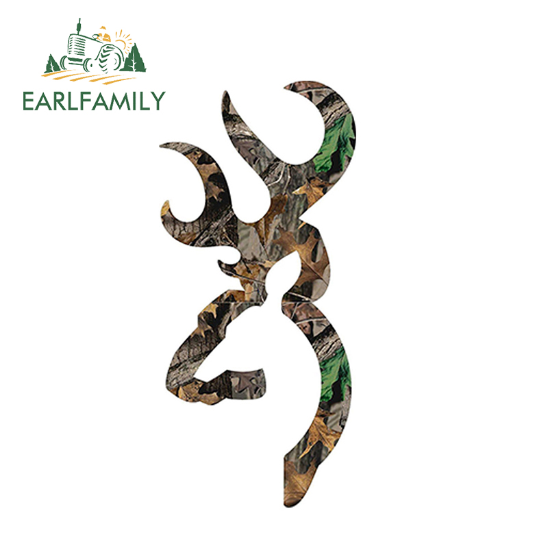 EARLFAMILY 13cm x 6cm Browning Style Camo Buck Camouflage Hunting Sticker Decal Funny Motorcycle Car Decal Accessories