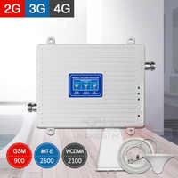 4G amplificador de señal 2G 3G repetidor Tri banda GSM 900 WCDMA/HSPA + 2100 FDD LTE amplificador repetidor móvil UMTS 4G 2600