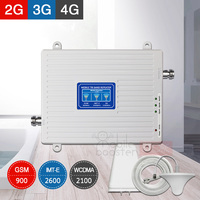 4G Signal Booster 2G 3G Repeater Tri Band GSM 900 WCDMA/HSPA+ 2100 FDD LTE Cellphone Cellular UMTS 4G 2600 Repeater Amplifier