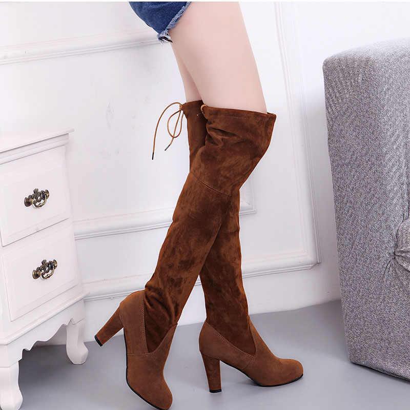 נשים ירך גבוהה מגפי אופנה זמש עור עקבים גבוהים תחרה עד מעל הברך מגפיים בתוספת גודל נעליים זרוק חינם 2019