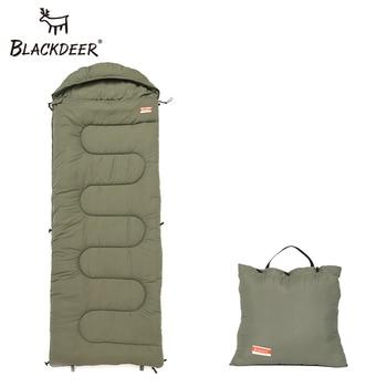 Blackdeer Camping Cotton Splice Sleeping Bag  Season Warm Pillow Hooded Envelope Sleeping Bag for Outdoor Traveling Hiking 1