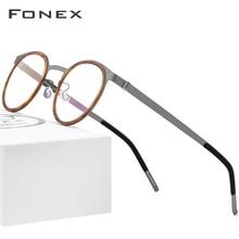 إطار نظارات من خليط خلات فونيكس للرجال والنساء إطارات قصر النظر المستديرة البصرية وصفة طبية بدون مسامير نظارات 98625