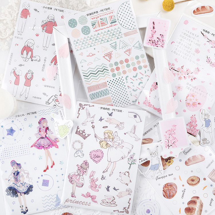Mohamm Spring Breeze Blowing Series  PET Stickers Pack Handbook Journal Diary Decorative Paper Scrapbooking Diy Craft Stationery