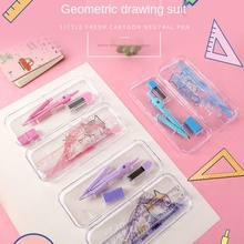 Eraser Ruler Compass Mathematics Drawing-Suit Plastic Stationery-Set Painting Practical