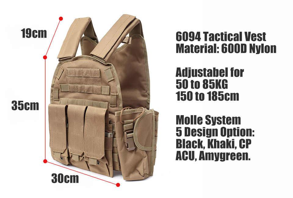 6094 chaleco táctico Molle 900D Nylon cuerpo armadura caza placa portador Airsoft 094K M4 bolsa combate equipo Multicam