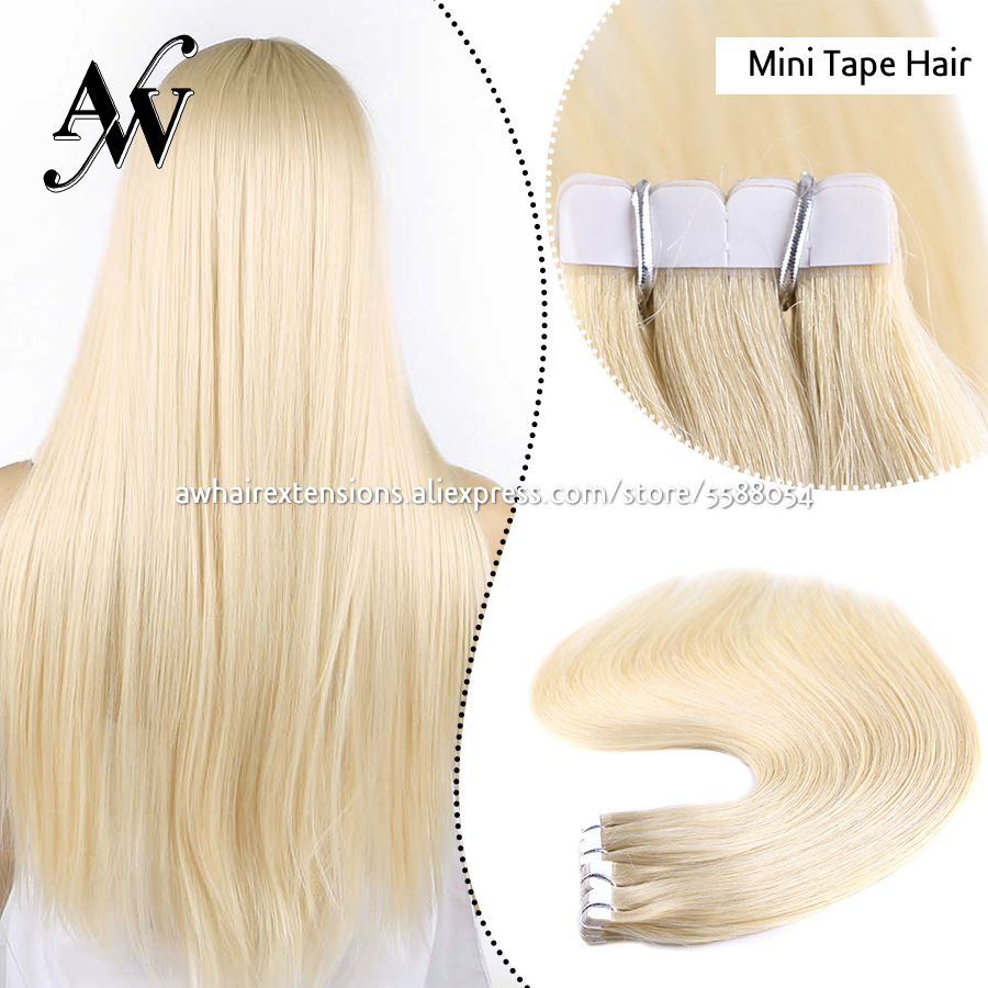 AW 10''-24'' Mini Tape In Human Hair Extensions Straight Seamless Invisible Natural Machine Made Remy Adhesive Extension