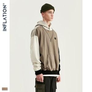 Image 3 - Design de inflação fw 2020 contraste cor dos homens moda hoodies bloco cor masculino hoodie com logotipo impresso rua wear masculino solto ajuste