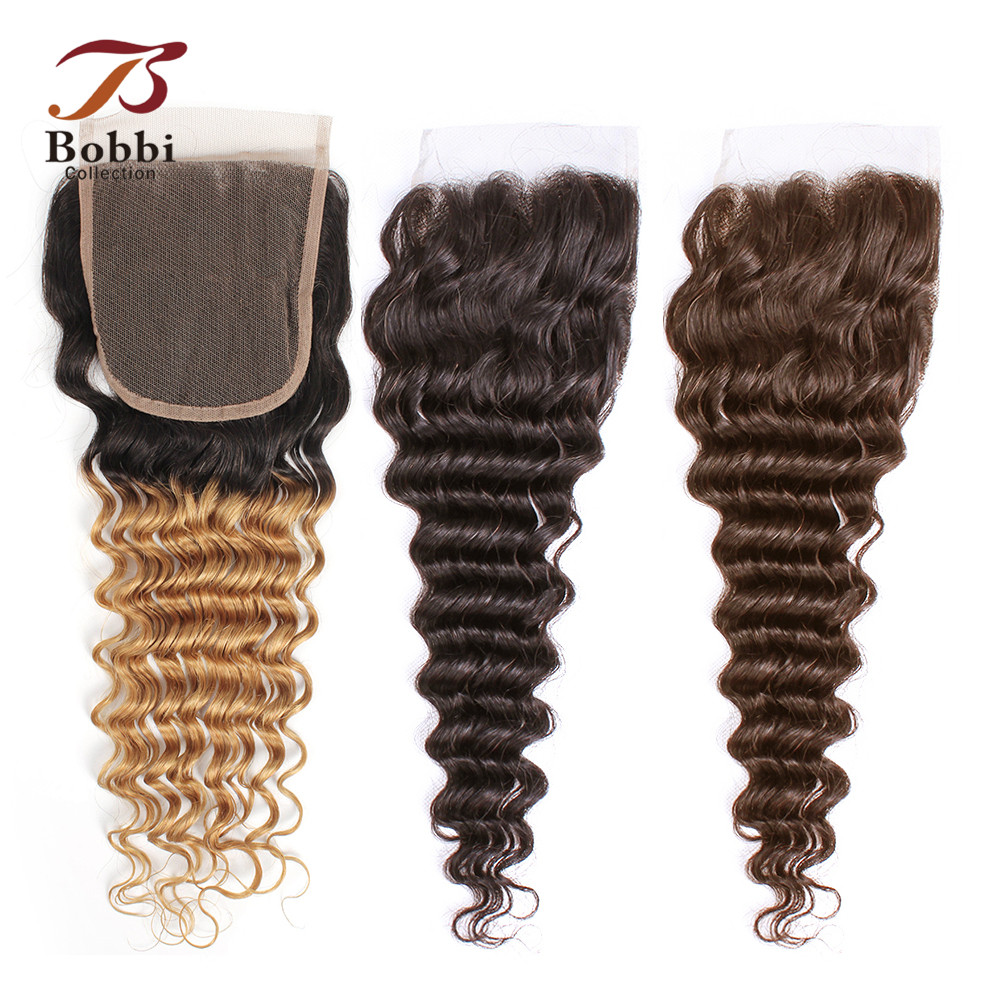 Bobbi Collection T 1B 27 Lace Closure Ombre Honey Blonde Dark Brown Color 2 Color 4 Deep Wave Brazilian Non-Remy Human Hair