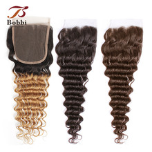 Коллекции Бобби Т 1Б 27 кружева закрытие ломбер блондинка меда темно-коричневый цвет 2 Цвет 4 глубокая волна бразильский non-Реми человеческих волос