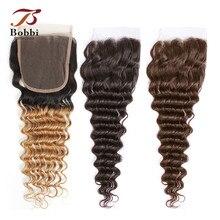 Bobbi Collection perruque Lace Closure ombré T 1B 27, cheveux naturels brésiliens non remy très ondulés, 2 couleurs, blond miel brun foncé, T 1B 27