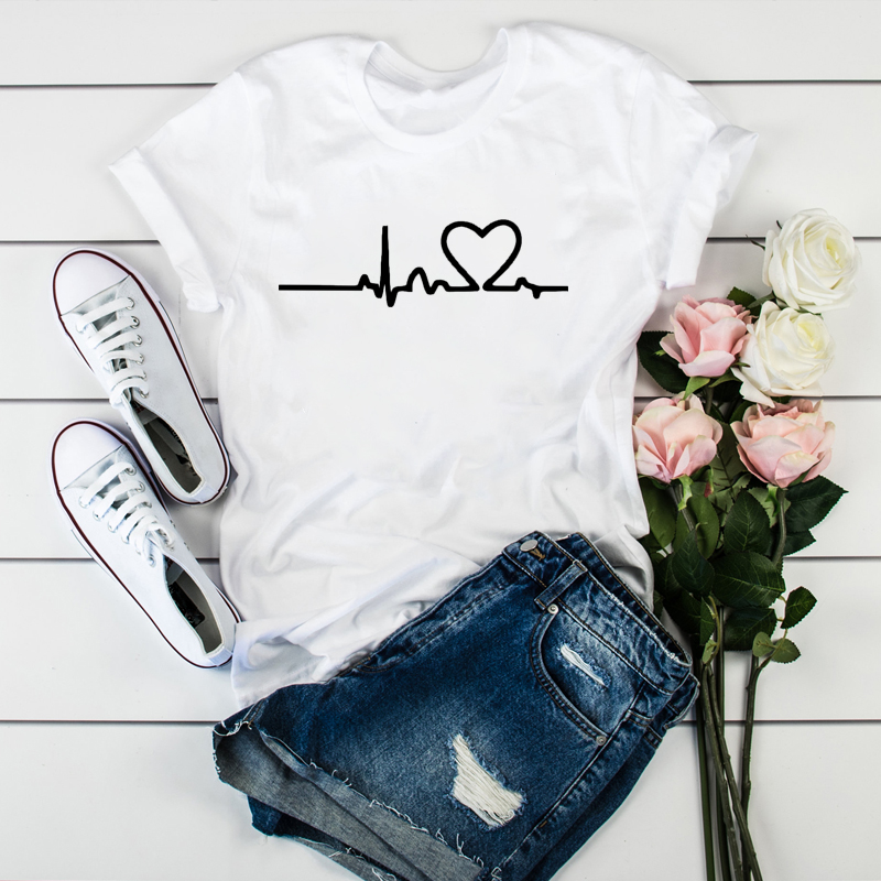 2020 New Women Heartbeat Print Tops Short Sleeve Clothes Harajuku Kawaii O-Neck Streetwear Ladies Graphic Summer Female T-shirt