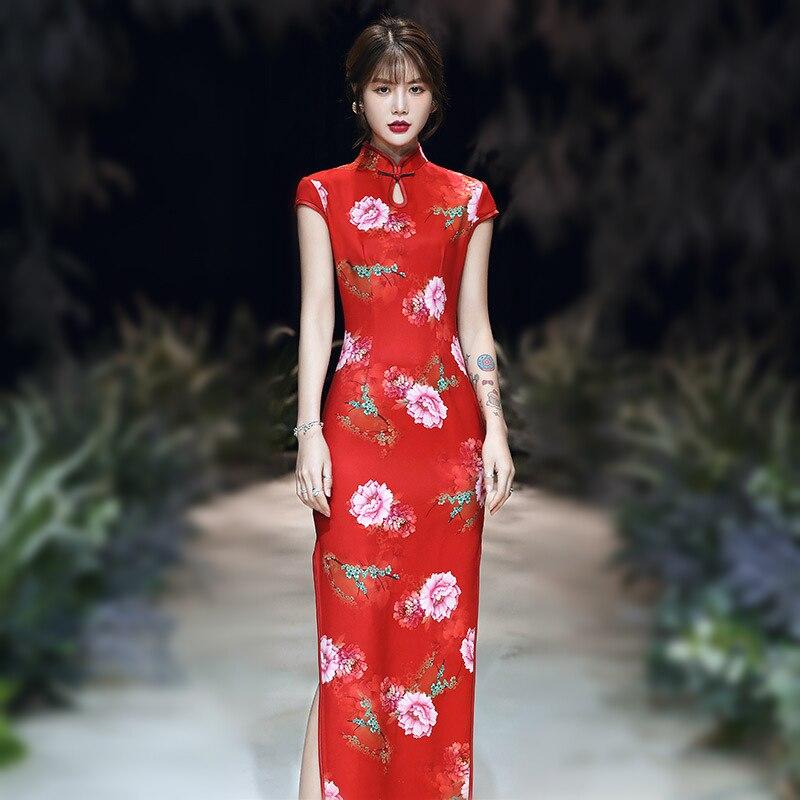Sheng Coco Elegant Red Flower Qipao Chinese Cheongsam Slim Moden Fashion Dress Long Elastic Qipao Women Clothing