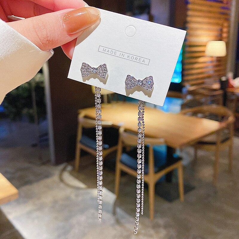Tassels Earings Bowknot Fashion Jewelry 2020 New Bling Rhinestone Long Ear Rings for Women European Korean Trendy Elegant Style