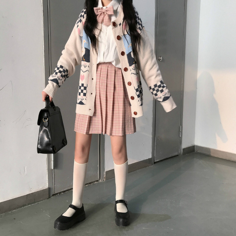 Japanese Autumn New Women Sweet CCartoon Print Loose Knit Cardigan Sweater & Young Girl Kawaii Babydoll Slim Plaid Pleated Skirt